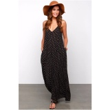 Low Price Yohanne Women V Neck Polka Dot Strapless Boho Spaghetti Long Maxi Beach Party Dress Black Intl