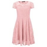 Yohanne Womens Round Neck Short Sleeve Pleated Lace Mini Party Evening Cocktail Dress Pink Intl Free Shipping