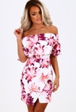 Yoins 2016 New Summer Women High Fashion Dress Casual Sleeveless Off The Shoulder Floral Pink Mini Dress Top Intl Reviews