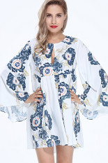 Sale Yoins New 2016 Women Fashion Floral Print Mini Dress With Bell Sleeves Intl Intl Yoins On China