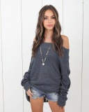 Price Yoins Women New High Fashion Clothing Casual Long Sleeve Off The Shoulder Loose Fit Grey Sweater Top Intl Yoins Original