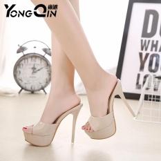 Discount Yongqin New Women Shoes 2017 Summer Sandals High Heels Platform S*Xy Slippers Women Flip Flops Shoes Beige Yongqin On China