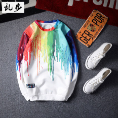 Men S Japanese Style Retro Slim Fit Colorful 3D Print Sweater Free Shipping