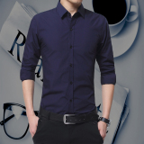 Sale Korean Style Black Male Long Sleeve Shirt Shirts Dark Blue Color China