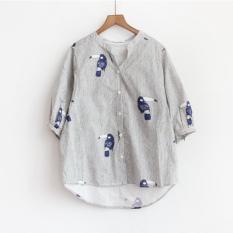 Buy Youngin Korean Striped Printed Lantern Sleeve Female Top Half Sleeve Shirt Shirt Black And White