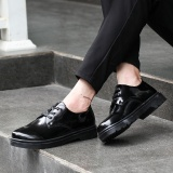 Sale Yozo Men Shoes Casual Fashion Bright Leather Shoes Lace Up Pu Comfortable Trend Men Business Shoes Black Intl On China