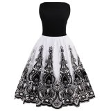 Top Rated Zaful 1950S Women Vintage Dress Pin Up Sashes Summer White Party Dresses Floral Print Elegant Female Vintage Dresses Balck Intl