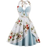 Buy Zaful Fashion Vintage Women Plus Size Clothing 50S Vintage Robe Halter Feminino Ball Gown Party Retro Swing Dress Light Blue Intl Online