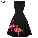 Zaful Hepburn Vintage Series Woman Round Neck Dress Two Flamingo Printing Design Sleeveless Dress Black Intl Price