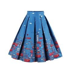 Discounted Zaful Pleated Skirts Womens Summer Swing Skirt Mountain Gorgeous Print Vintage Floral Midi Vintage Plus Size Skirt Intl