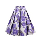 Price Zaful Pleated Skirts Womens Summer Swing Skirt Mountain Gorgeous Print Vintage Floral Midi Vintage Plus Size Skirt Purple Intl Zaful New
