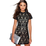 Sale Zaful Round Neck Closed Fit Woman Perspective Lace Dress Black Intl