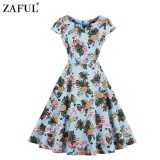How Do I Get Zaful Vintage Style Woman Dress Spring And Autumn Pineapple Printing Little V Neck And Short Sleeve Design A Line Midi Dress Intl