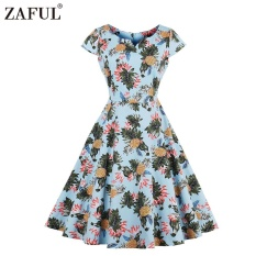 Best Buy Zaful Vintage Style Woman Dress Spring And Autumn Pineapple Printing Little V Neck And Short Sleeve Design A Line Midi Dress Intl