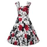 Sale Zaful Woman Dress Retro Print Square Cut Collar Big Hem Color C0 Intl China Cheap