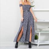 Best Price Zaful Woman Strapless Printed Split Dress A Word Shoulder Blue Intl
