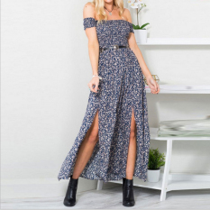 Where To Shop For Zaful Woman Strapless Printed Split Dress A Word Shoulder Blue Intl