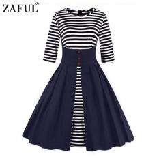 Price Zaful Women Fashionpleated Striped Printing3 4 Lengthsleeve Dress Retro Style Intl Zaful New