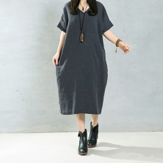 Price Comparisons Of Zanzea 2016 Elegant Women Long Dress O Neck Long Sleeve Pockets Solid Loose Casual Vintage Long Vestidos Plus Size 5Xl Grey