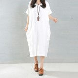 Sale Zanzea 2016 Elegant Women Long Dress O Neck Long Sleeve Pockets Solid Loose Casual Vintage Long Vestidos Plus Size 5Xl White Zanzea