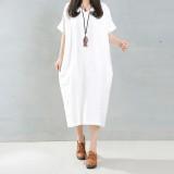 Zanzea 2016 Elegant Women Long Dress O Neck Long Sleeve Pockets Solid Loose Casual Vintage Long Vestidos Plus Size 5Xl White Cheap