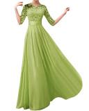 Zanzea 2016 Fashion Women Dress Half Sleeve Lace Chiffon Patchwork Slim Elegant Maxi Long Princess Party Dresses Vestidos Plus Size Green Intl Lower Price