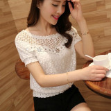 Zanzea 2016 S*xy Ladies Short Sleeve Casual Embroidery Hollow Lace Tops T Shirt Blouse White In Stock