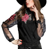 Sale Zanzea 2016 Spring Women Blusas Vintage Long Sleeve Embroidery Floral Print Blouses Tops Ladies Elegant Organza Shirts Plus Size Black China