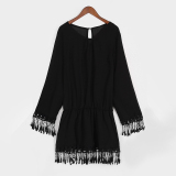Sale Zanzea 2016 Summer Style Women Beach Dress Long Sleeve Bohemian Tassel S*xy Dress Chiffon Lace Tunic Mini Dresses Vestidos Plus Size S 3Xl Black Zanzea Cheap
