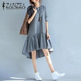 Zanzea 2017 Oversized Autumn Striped Cotton Linen O Neck Long Sleeve Women Casual Ruffle Party Short Vestido Long Shirt Dress Grey Intl Zanzea Cheap On China