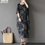 Zanzea 2017 Womens Boho Floral Printed Short Sleeve Cotton Linen Maxi Long Dress Loose Baggy Casual Kaftan Vestido Plus Size Navy Intl In Stock