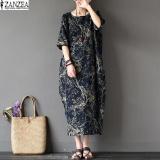 Sale Zanzea 2017 Womens Boho Floral Printed Short Sleeve Cotton Linen Maxi Long Dress Loose Baggy Casual Kaftan Vestido Plus Size Navy Intl China Cheap
