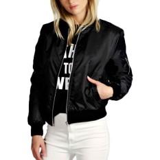 Zanzea 2018 Fashion Coats Women Autumn Winter Thin Jacket Bomber Long Sleeve Coat Casual Stand Collar Oversized Outerwear Black Intl Shop