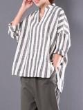 Zanzea 2018 Spring Plus Size M 5Xl Cotton Linen Blouse Women Stand Collar V Neck Loose Irregular Shirts Retro Baggy Striped Tops Stripe Intl Price
