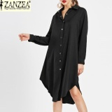 Zanzea Autumn Belted Blouse Shirt Dress Women Solid Color Midi Dresses Long Sleeve Oversized Casual Clothes Tunic Black Intl Cheap