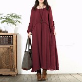 Cheaper Zanzea Autumn Dress Hot Sale Women Vintage Casual Loose Long Sleeve Long Maxi Dresses Oversized Vestidos Plus Size Wine Red Intl