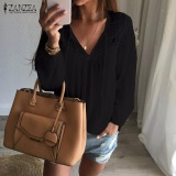 Where Can I Buy Zanzea Autumn Shirts 2017 Women Casual Loose Patchwork Lace Crochet Blouses V Neck Long Sleeve Tee Tops S 5Xl Black Intl