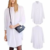 Zanzea Blusas 2016 Autumn Fashion Women Long Sleeve Turn Down Collar Casual Loose Cotton Buttons Blouses Solid Shirts Top Mini Dress Intl Sale