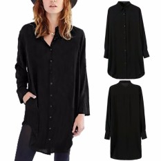 Price Compare Zanzea Blusas 2016 Autumn Fashion Women Long Sleeve Turn Down Collar Casual Loose Cotton Buttons Blouses Solid Shirts Top Mini Dress Intl