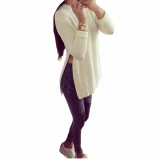 Best Deal Zanzea Blusas 2016 Autumn Women Long Sleeve O Neck Side Slit Knitted Pullover Casual Loose Long Tops Solid Sweater Plus Size Intl