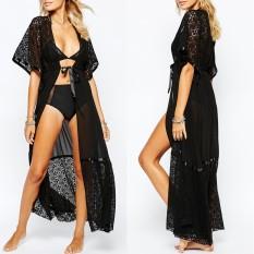 Price Compare Zanzea Blusas 2016 S*xy Women Blouse Kimono Cardigan Ladies Short Sleeve Casual Shirts Chiffon Splice Lace Solid Beach Long Tops Black Intl