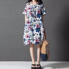 Coupon Zanzea Boho Style Printed Floral Dress 2016 Summer Womens Short Sleeve Dresses Casual Vintage Vestido Plus Size S 5Xl