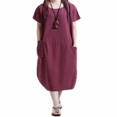 Buy Zanzea Fashion 2016 Summer Womens Solid Dress Casual Loose Dresses Plus Large Big Size S 5Xl Short Sleeve O Neck Vestidos Intl Cheap On China