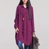 Zanzea Fashion Autumn 2016 Hot Sale Women Blouses Long Sleeve Irregular Hem Cotton Solid Shirts Casual Loose Blusas Plus Size Tops Claret Intl Shop
