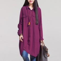 Where Can You Buy Zanzea Fashion Autumn 2016 Hot Sale Women Blouses Long Sleeve Irregular Hem Cotton Solid Shirts Casual Loose Blusas Plus Size Tops Claret Intl
