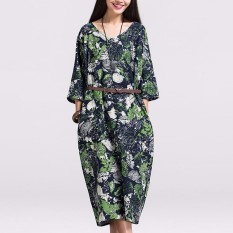 Where Can You Buy Zanzea Fashion Plus Vintage Women 3 4 Sleeve V Neck Baggy Loose Retro Floral Print Long Maxi Dress Intl