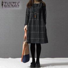 Sale Zanzea Fashion Women Autumn Winter O Neck Long Sleeve Plaid Dresses Plus Size Dark Grey Intl