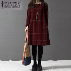 Where Can I Buy Zanzea Fashion Women Autumn Winter O Neck Long Sleeve Plaid Dresses Plus Size Red Intl