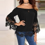 Zanzea Fashion Women Blouses Off Shoulder Shirts S*xy Slash Neck Flare Sleeve Patchwork Lace Crochet Blusas Casual Tops Intl Best Price
