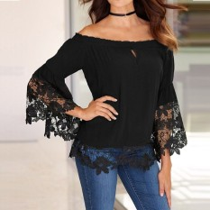 Purchase Zanzea Fashion Women Blouses Off Shoulder Shirts S*xy Slash Neck Flare Sleeve Patchwork Lace Crochet Blusas Casual Tops Intl
